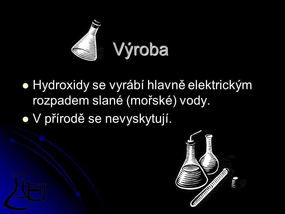 Výroba Hydroxidy se vyrábí hlavně elektrickým rozpadem slané (mořské) vody.