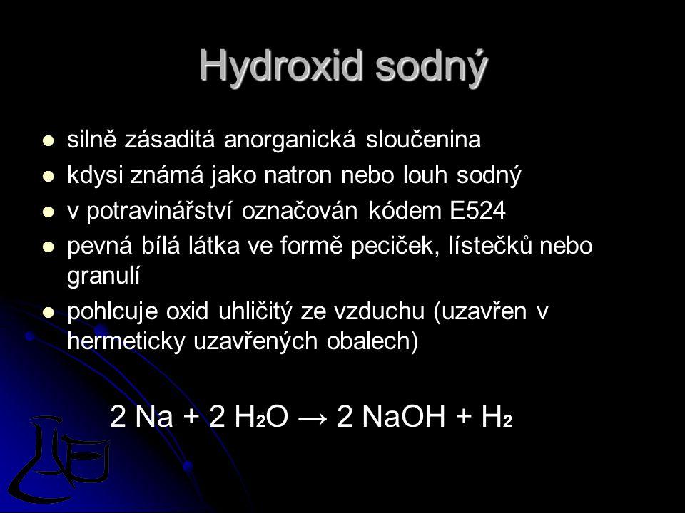 Hydroxid sodný silně zásaditá anorganická sloučenina kdysi známá jako natron nebo louh sodný v potravinářství označován kódem E524 pevná bílá látka ve