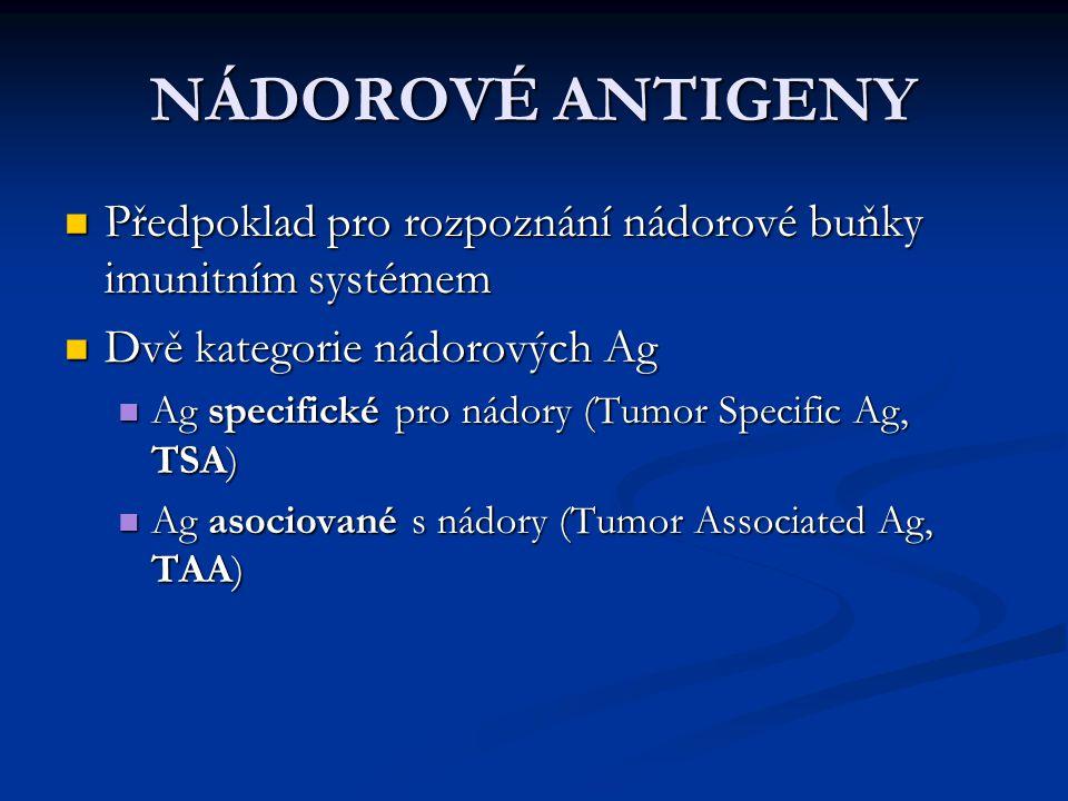 NÁDOROVÉ ANTIGENY Předpoklad pro rozpoznání nádorové buňky imunitním systémem Předpoklad pro rozpoznání nádorové buňky imunitním systémem Dvě kategori