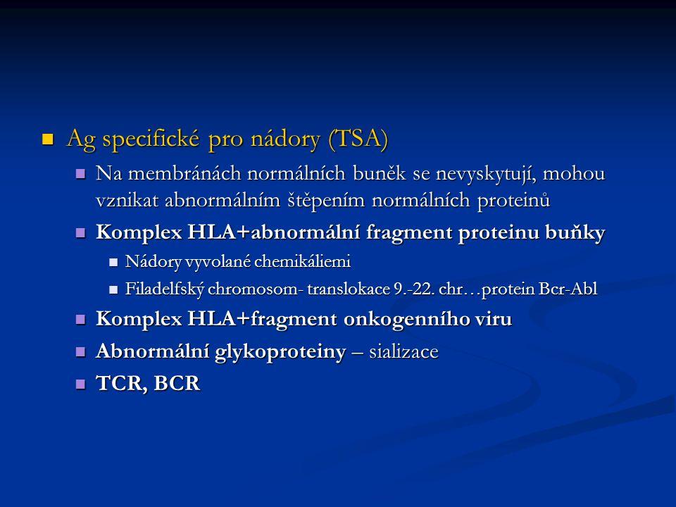 Ag specifické pro nádory (TSA) Ag specifické pro nádory (TSA) Na membránách normálních buněk se nevyskytují, mohou vznikat abnormálním štěpením normál