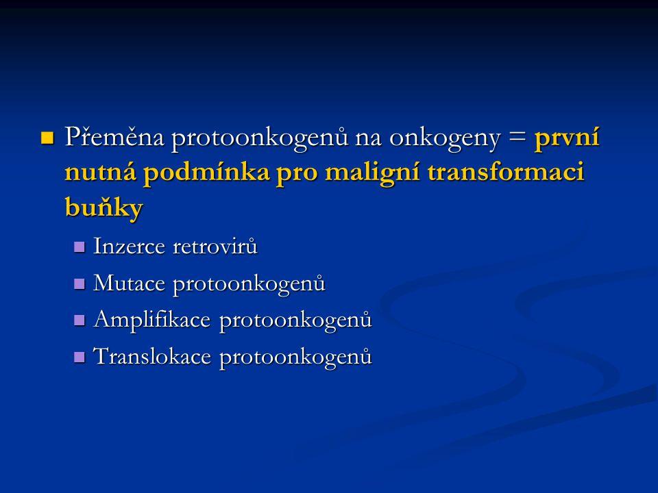 Přeměna protoonkogenů na onkogeny = první nutná podmínka pro maligní transformaci buňky Přeměna protoonkogenů na onkogeny = první nutná podmínka pro m