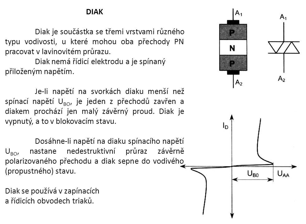 DIAK Diak je součástka se třemi vrstvami různého typu vodivosti, u které mohou oba přechody PN pracovat v lavinovitém průrazu. Diak nemá řídicí elektr