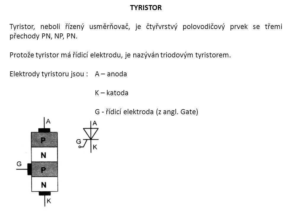 TYRISTOR Tyristor, neboli řízený usměrňovač, je čtyřvrstvý polovodičový prvek se třemi přechody PN, NP, PN. Protože tyristor má řídicí elektrodu, je n