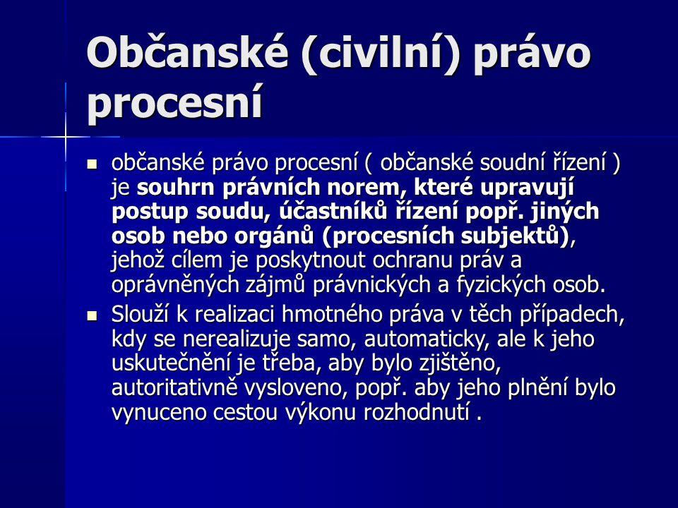 Občanské (civilní) právo procesní občanské právo procesní ( občanské soudní řízení ) je souhrn právních norem, které upravují postup soudu, účastníků řízení popř.