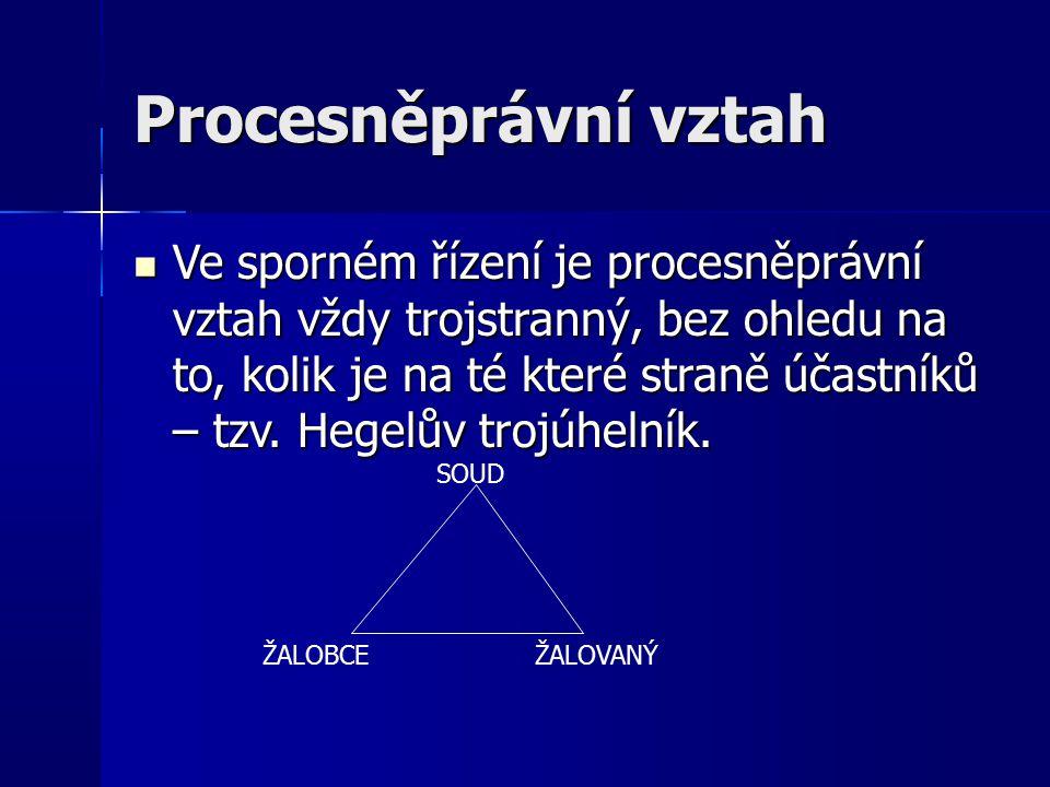 Procesněprávní vztah Ve sporném řízení je procesněprávní vztah vždy trojstranný, bez ohledu na to, kolik je na té které straně účastníků – tzv.