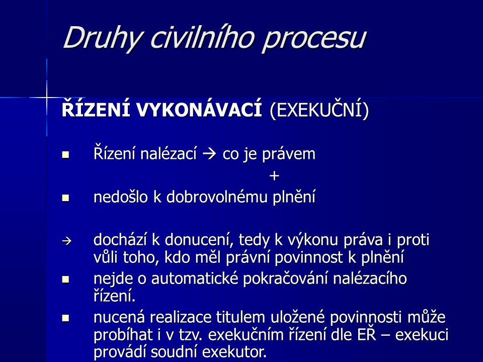 Druhy civilního procesu ŘÍZENÍ VYKONÁVACÍ (EXEKUČNÍ) Řízení nalézací  co je právem Řízení nalézací  co je právem+ nedošlo k dobrovolnému plnění nedošlo k dobrovolnému plnění  dochází k donucení, tedy k výkonu práva i proti vůli toho, kdo měl právní povinnost k plnění nejde o automatické pokračování nalézacího řízení.