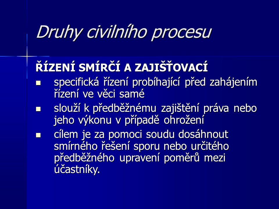 Druhy civilního procesu ŘÍZENÍ SMÍRČÍ A ZAJIŠŤOVACÍ – pokr.
