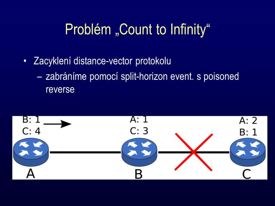 """Problém """"Count to Infinity Zacyklení distance-vector protokolu –zabráníme pomocí split-horizon event."""