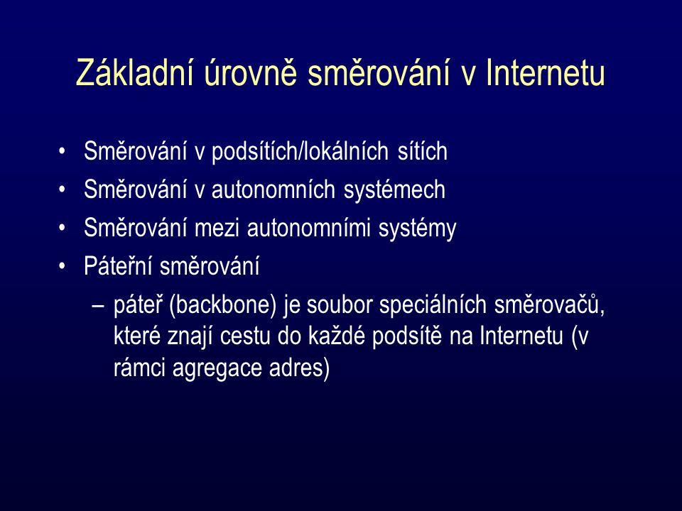 Základní úrovně směrování v Internetu Směrování v podsítích/lokálních sítích Směrování v autonomních systémech Směrování mezi autonomními systémy Páteřní směrování –páteř (backbone) je soubor speciálních směrovačů, které znají cestu do každé podsítě na Internetu (v rámci agregace adres)