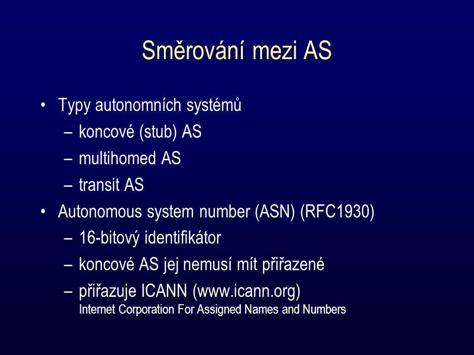 Směrování mezi AS Typy autonomních systémů –koncové (stub) AS –multihomed AS –transit AS Autonomous system number (ASN) (RFC1930) –16-bitový identifikátor –koncové AS jej nemusí mít přiřazené –přiřazuje ICANN (www.icann.org) Internet Corporation For Assigned Names and Numbers