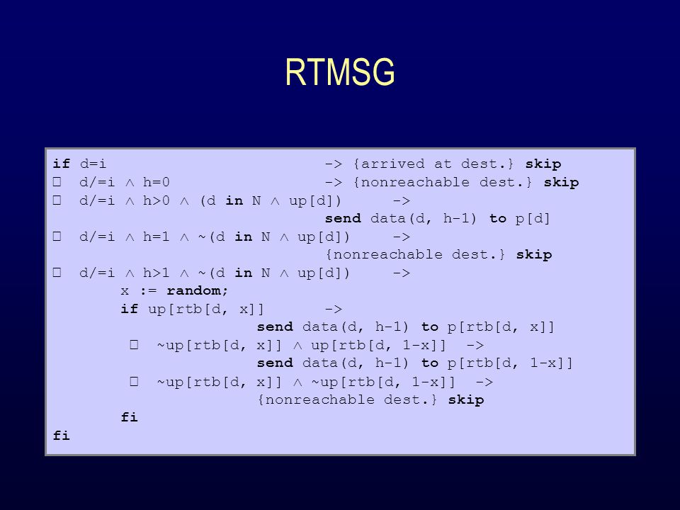 RTMSG if d=i -> {arrived at dest.} skip d/=i  h=0-> {nonreachable dest.} skip d/=i  h>0  (d in N  up[d])-> send data(d, h-1) to p[d] d/=i  h=1 