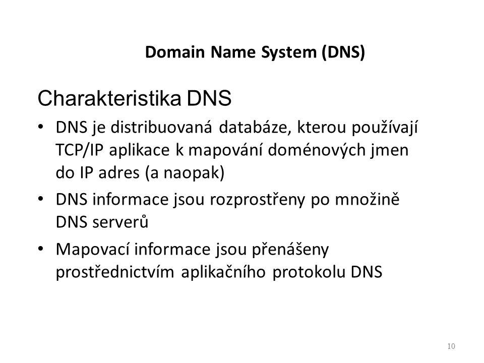 10 Domain Name System (DNS) Charakteristika DNS DNS je distribuovaná databáze, kterou používají TCP/IP aplikace k mapování doménových jmen do IP adres