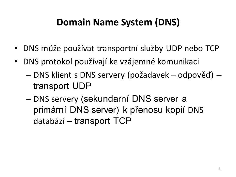 11 Domain Name System (DNS) DNS může používat transportní služby UDP nebo TCP DNS protokol používají ke vzájemné komunikac i – DNS klient s DNS server