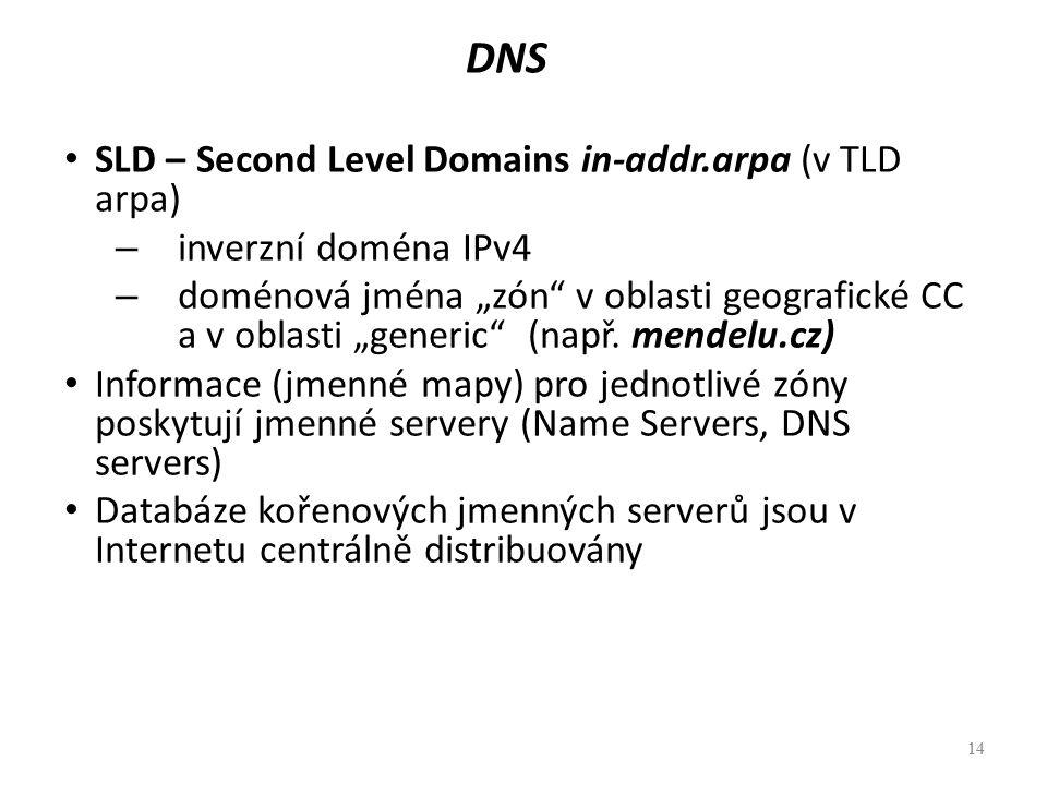 """14 DNS SLD – Second Level Domains in-addr.arpa (v TLD arpa) – inverzní doména IPv4 – doménová jména """"zón"""" v oblasti geografické CC a v oblasti """"generi"""