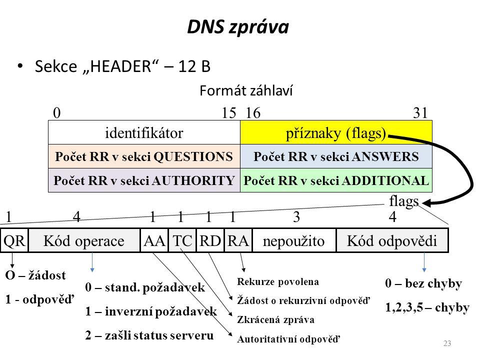 """23 DNS zpráva Sekce """"HEADER"""" – 12 B Formát záhlaví 23 identifikátorpříznaky (flags) Počet RR v sekci QUESTIONS Počet RR v sekci AUTHORITY Počet RR v s"""