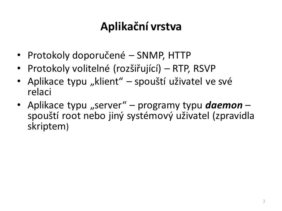 """3 Aplikační vrstva Protokoly doporučené – SNMP, HTTP Protokoly volitelné (rozšiřující) – RTP, RSVP Aplikace typu """"klient"""" – spouští uživatel ve své re"""