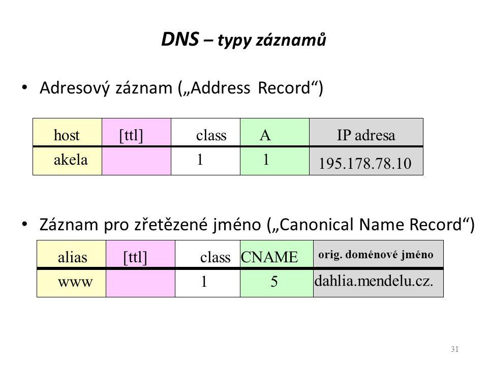"""31 DNS – typy záznamů Adresový záznam (""""Address Record"""") Záznam pro zřetězené jméno (""""Canonical Name Record"""") 31 [ttl]aliasclassCNAME orig. doménové j"""