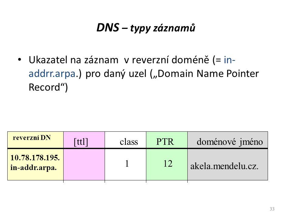 """33 DNS – typy záznamů Ukazatel na záznam v reverzní doméně (= in- addrr.arpa.) pro daný uzel (""""Domain Name Pointer Record"""") 33 [ttl] reverzní DN class"""