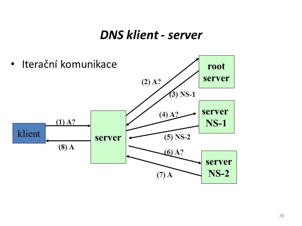 36 DNS klient - server Iterační komunikace 36 klient (1) A? server NS-2 server NS-1 root server (8) A (7) A (5) NS-2 (3) NS-1 (6) A? (4) A? (2) A?