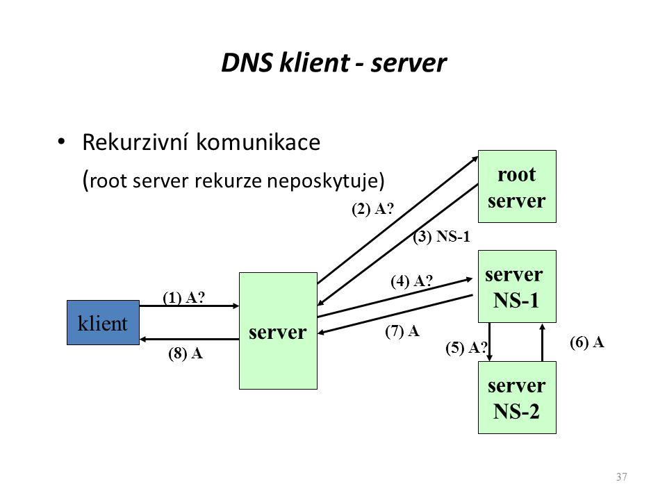 37 DNS klient - server Rekurzivní komunikace ( root server rekurze neposkytuje) 37 klient (1) A? server NS-2 server NS-1 root server (8) A (7) A (3) N