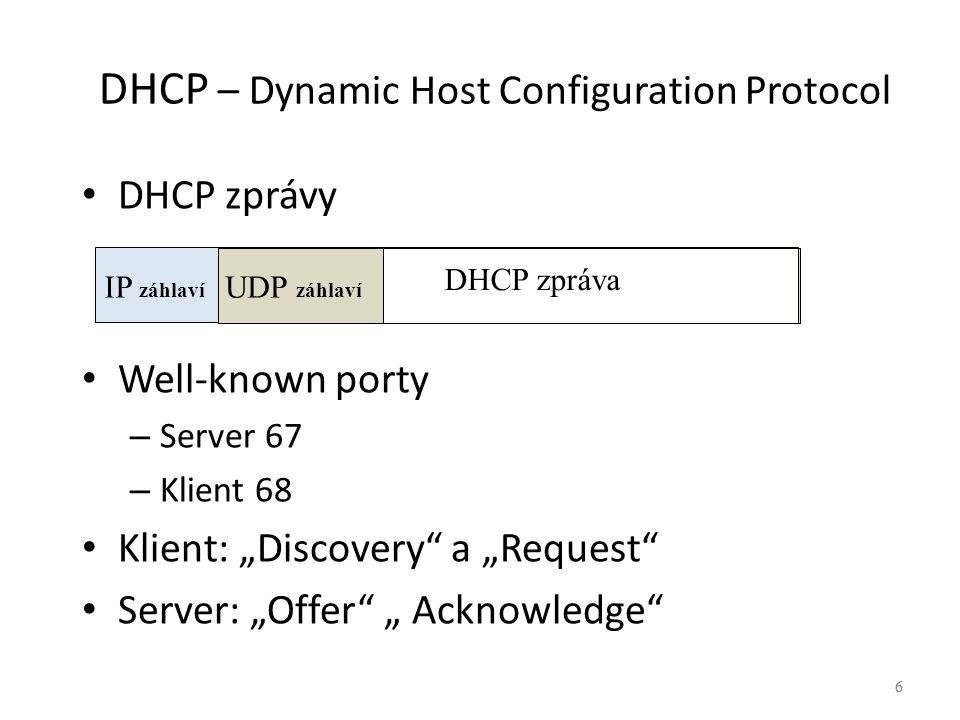 7 DHCP – Dynamic Host Configuration Protocol 7 KlientServer Discovery Request Offer Acknowledge Src.