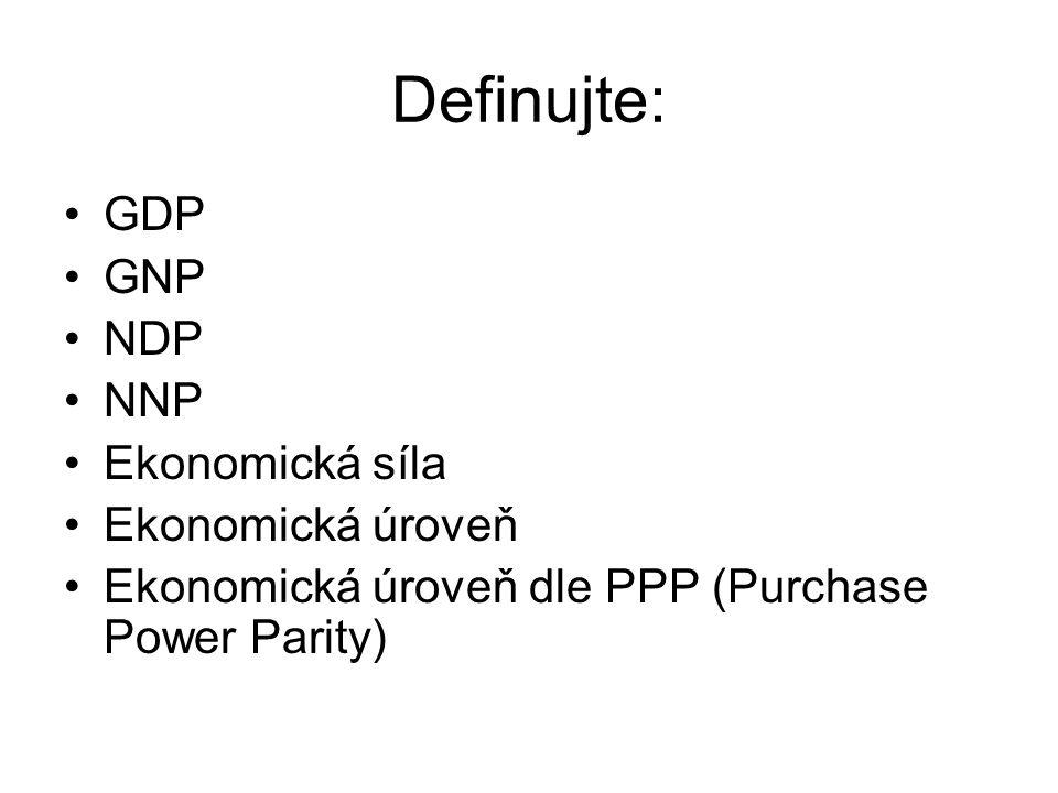 Definujte: GDP GNP NDP NNP Ekonomická síla Ekonomická úroveň Ekonomická úroveň dle PPP (Purchase Power Parity)