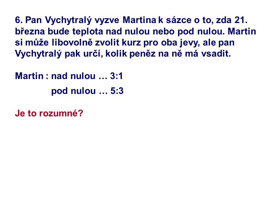 6. Pan Vychytralý vyzve Martina k sázce o to, zda 21. března bude teplota nad nulou nebo pod nulou. Martin si může libovolně zvolit kurz pro oba jevy,