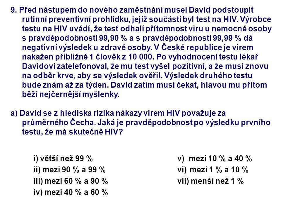 9. Před nástupem do nového zaměstnání musel David podstoupit rutinní preventivní prohlídku, jejíž součástí byl test na HIV. Výrobce testu na HIV uvádí
