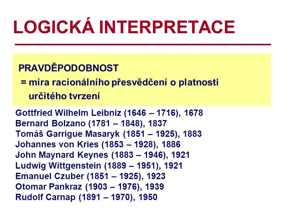 LOGICKÁ INTERPRETACE PRAVDĚPODOBNOST = míra racionálního přesvědčení o platnosti určitého tvrzení Gottfried Wilhelm Leibniz (1646 – 1716), 1678 Bernard Bolzano (1781 – 1848), 1837 Tomáš Garrigue Masaryk (1851 – 1925), 1883 Johannes von Kries (1853 – 1928), 1886 John Maynard Keynes (1883 – 1946), 1921 Ludwig Wittgenstein (1889 – 1951), 1921 Emanuel Czuber (1851 – 1925), 1923 Otomar Pankraz (1903 – 1976), 1939 Rudolf Carnap (1891 – 1970), 1950