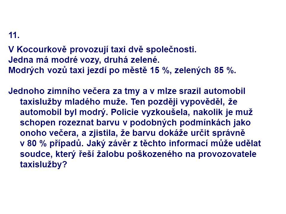 11. V Kocourkově provozují taxi dvě společnosti. Jedna má modré vozy, druhá zelené. Modrých vozů taxi jezdí po městě 15 %, zelených 85 %. Jednoho zimn