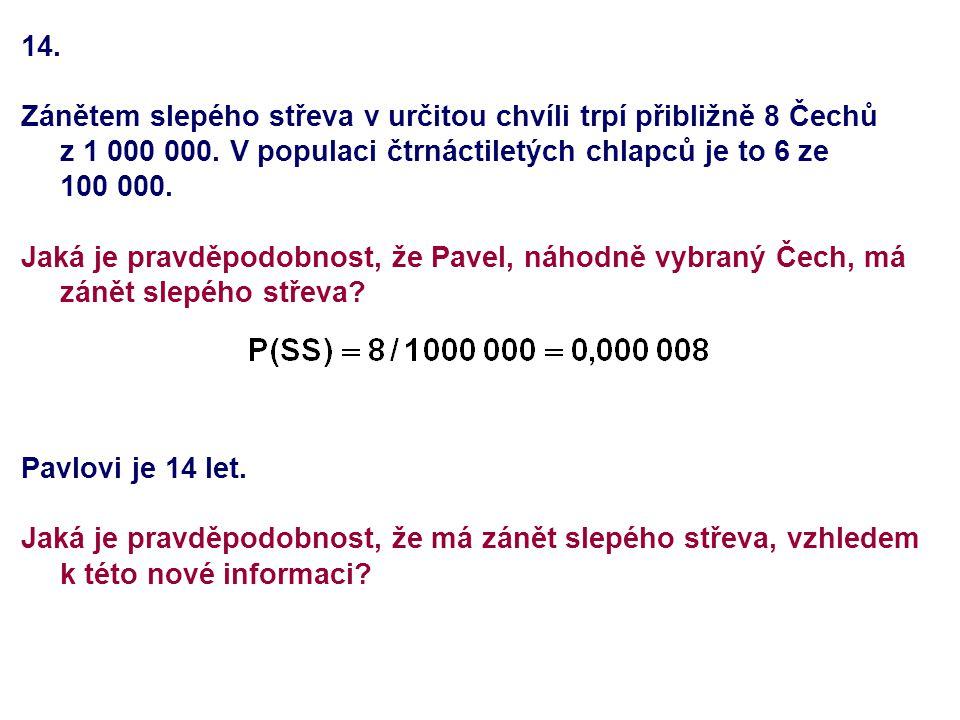 14. Zánětem slepého střeva v určitou chvíli trpí přibližně 8 Čechů z 1 000 000. V populaci čtrnáctiletých chlapců je to 6 ze 100 000. Jaká je pravděpo