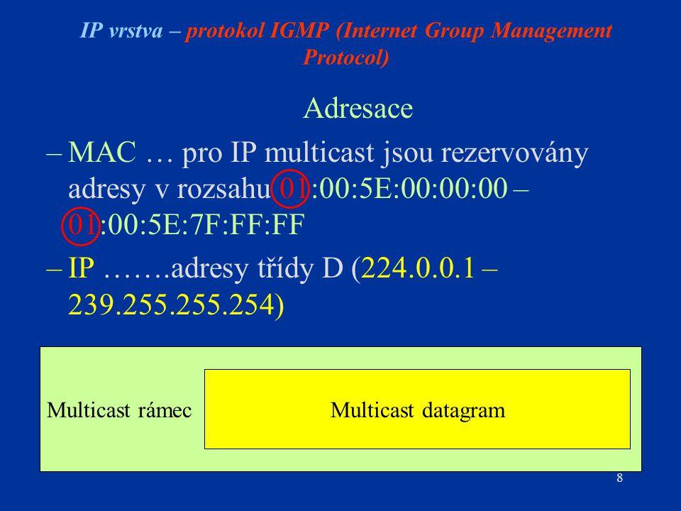 8 Multicast rámec IP vrstva – protokol IGMP (Internet Group Management Protocol) Adresace –MAC … pro IP multicast jsou rezervovány adresy v rozsahu 01:00:5E:00:00:00 – 01:00:5E:7F:FF:FF –IP …….adresy třídy D (224.0.0.1 – 239.255.255.254) Multicast datagram