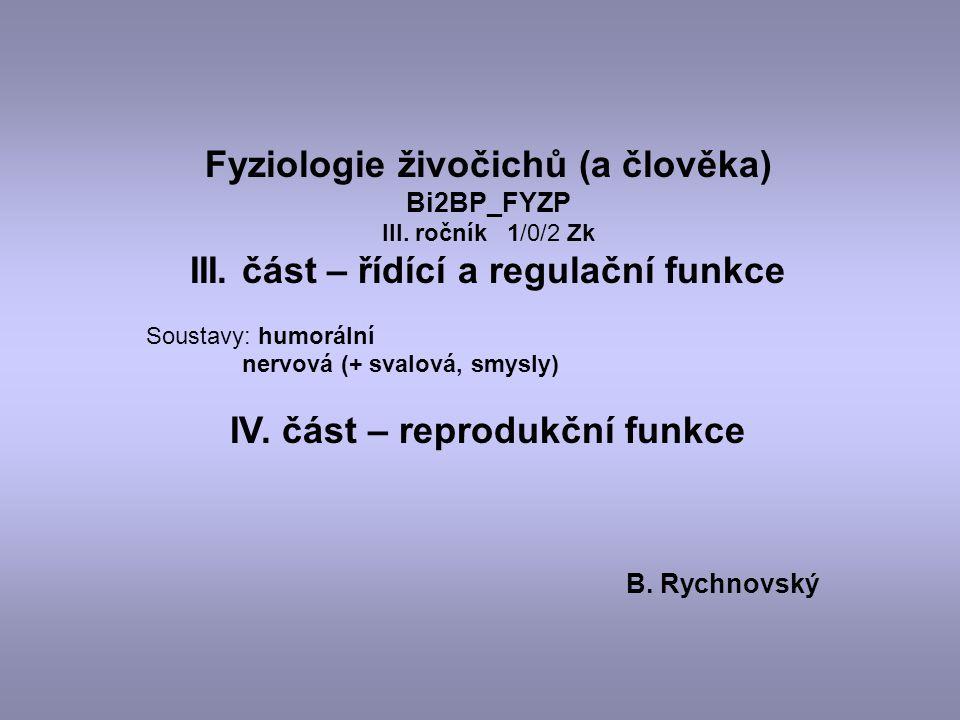Fyziologie živočichů (a člověka) Bi2BP_FYZP III. ročník 1/0/2 Zk III. část – řídící a regulační funkce Soustavy: humorální nervová (+ svalová, smysly)