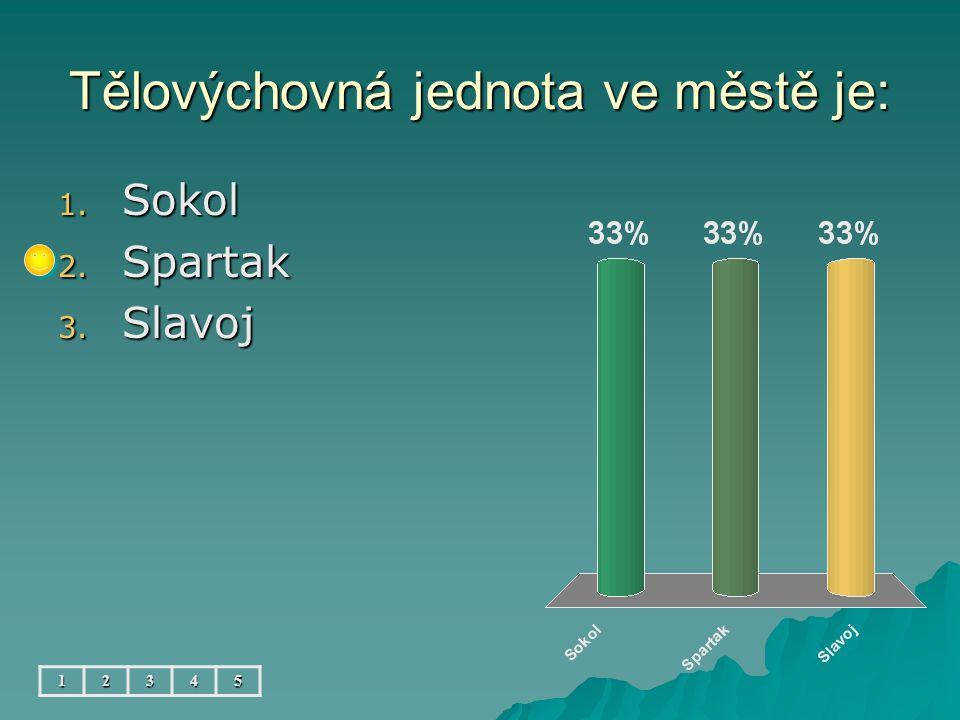 Tělovýchovná jednota ve městě je: 12345 1. Sokol 2. Spartak 3. Slavoj