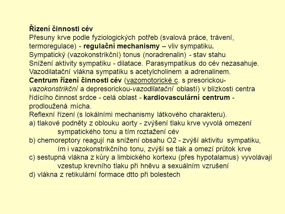 Řízení činnosti cév Přesuny krve podle fyziologických potřeb (svalová práce, trávení, termoregulace) - regulační mechanismy – vliv sympatiku. Sympatic