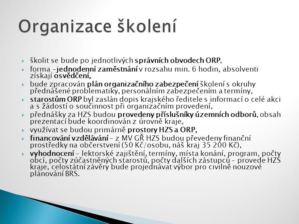  školit se bude po jednotlivých správních obvodech ORP,  forma -jednodenní zaměstnání v rozsahu min.
