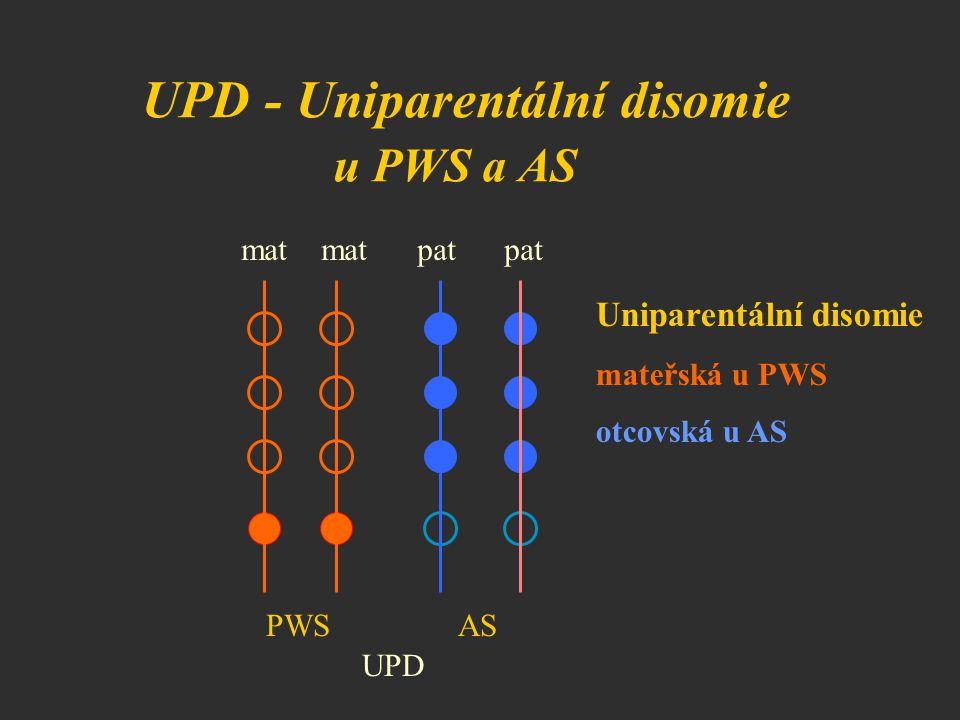 UPD - Uniparentální disomie u PWS a AS mat mat pat pat UPD Uniparentální disomie mateřská u PWS otcovská u AS PWSAS