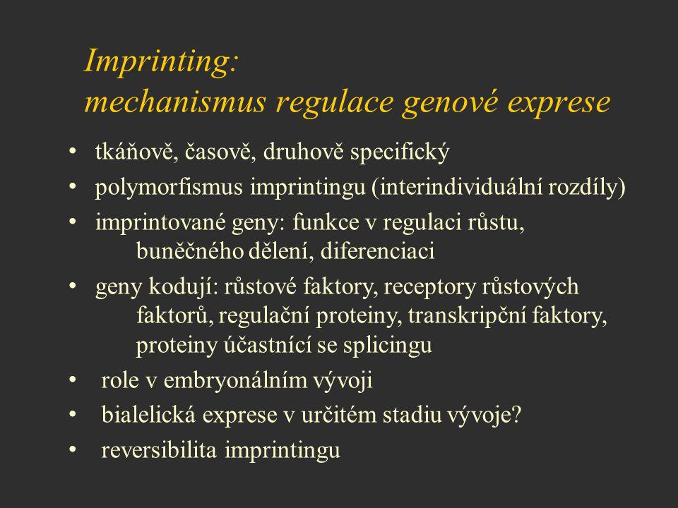 Imprinting: mechanismus regulace genové exprese tkáňově, časově, druhově specifický polymorfismus imprintingu (interindividuální rozdíly) imprintované