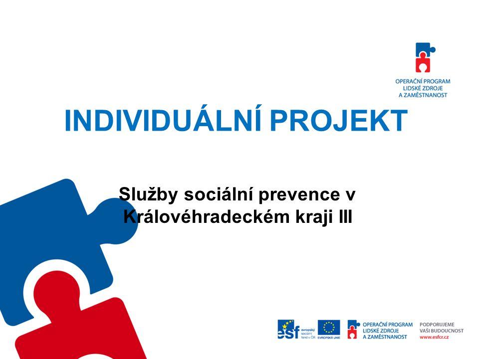 Představení projektu Cíl projektu: Zajistit dostupnost služeb sociální prevence, přispívající k integraci cílových skupin do společnosti a na trh práce.
