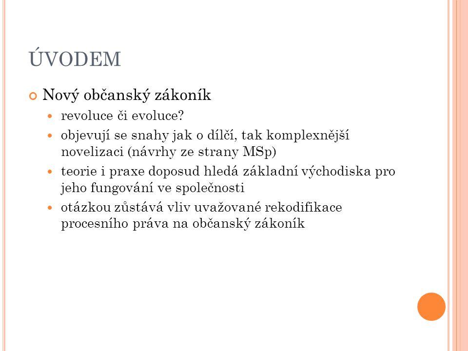 ÚVODEM Nový občanský zákoník revoluce či evoluce.