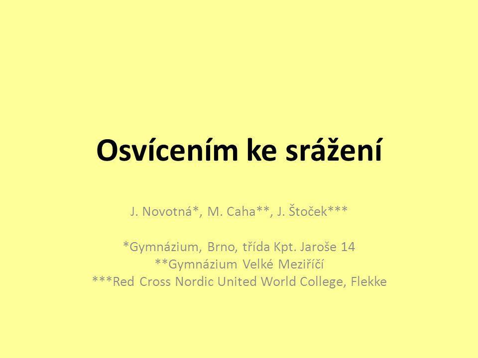 Osvícením ke srážení J. Novotná*, M. Caha**, J. Štoček*** *Gymnázium, Brno, třída Kpt.