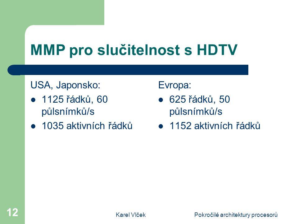 Karel VlčekPokročilé architektury procesorů 12 MMP pro slučitelnost s HDTV USA, Japonsko: 1125 řádků, 60 půlsnímků/s 1035 aktivních řádků Evropa: 625 řádků, 50 půlsnímků/s 1152 aktivních řádků