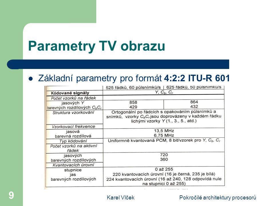 Karel VlčekPokročilé architektury procesorů 10 Parametry TV obrazu Vzorkování pro formáty a) 4:4:4, b) 4:2:2, c) 4:1:1, d) 4:2:0