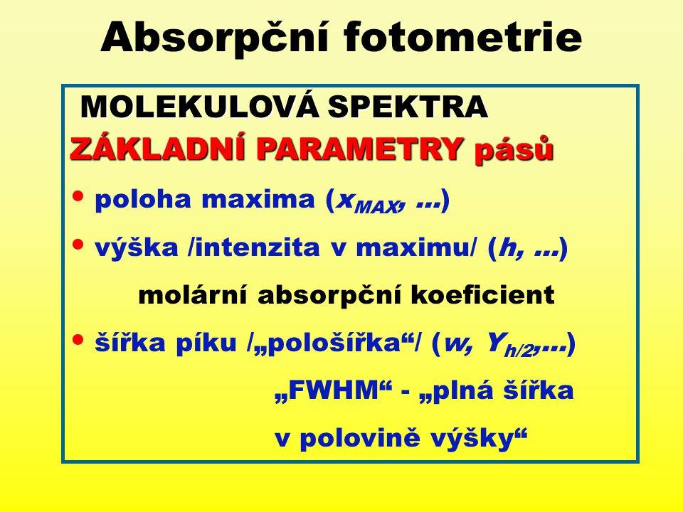 Absorpční fotometrie MOLEKULOVÁSPEKTRA MOLEKULOVÁ SPEKTRA ZÁKLADNÍ PARAMETRY pásů poloha maxima (x MAX,...) výška /intenzita v maximu/ (h,...) molární