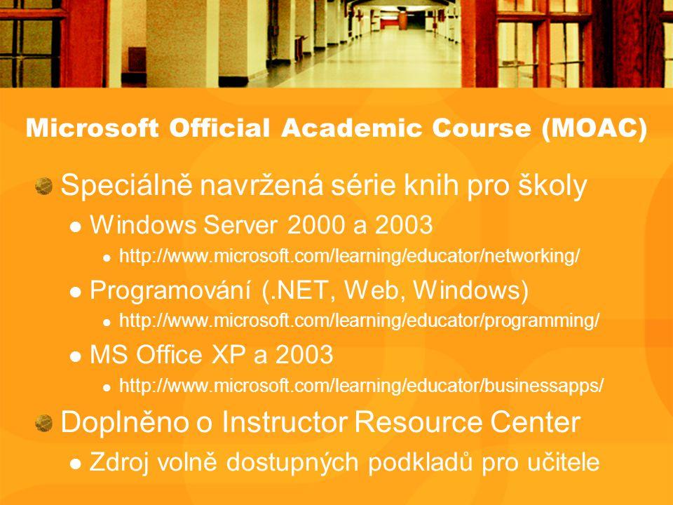 Microsoft Official Academic Course (MOAC) Speciálně navržená série knih pro školy Windows Server 2000 a 2003 http://www.microsoft.com/learning/educator/networking/ Programování (.NET, Web, Windows) http://www.microsoft.com/learning/educator/programming/ MS Office XP a 2003 http://www.microsoft.com/learning/educator/businessapps/ Doplněno o Instructor Resource Center Zdroj volně dostupných podkladů pro učitele