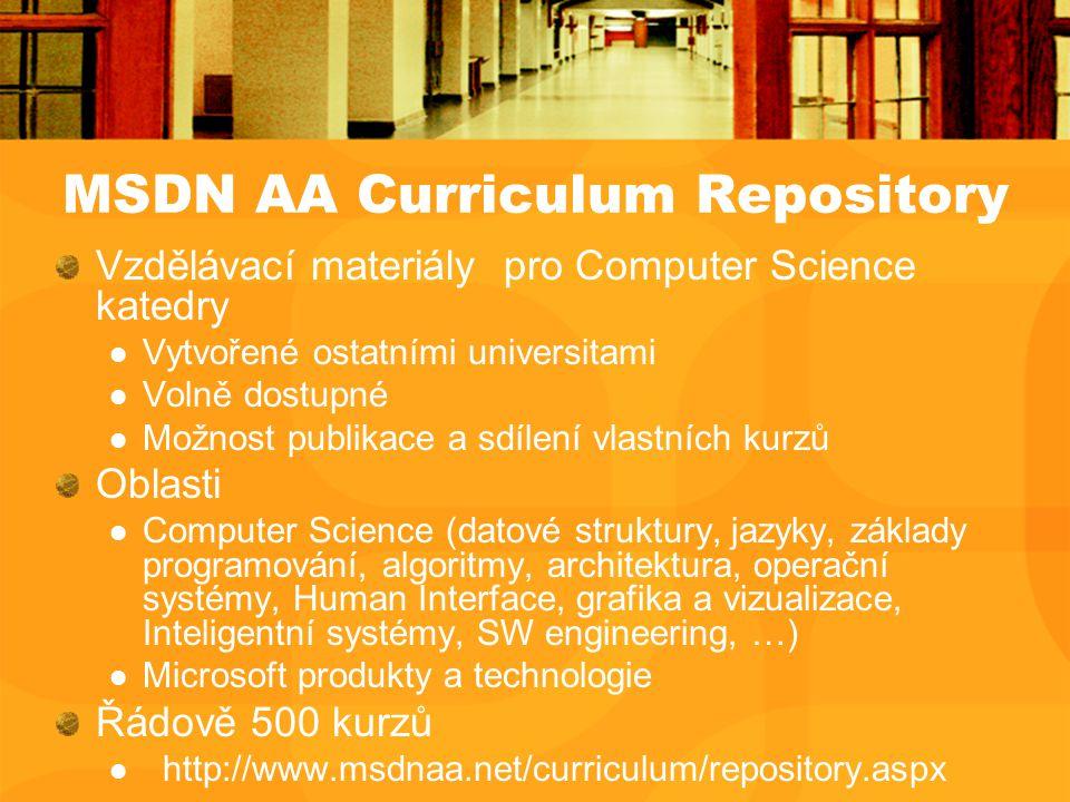 MSDN AA Curriculum Repository Vzdělávací materiály pro Computer Science katedry Vytvořené ostatními universitami Volně dostupné Možnost publikace a sdílení vlastních kurzů Oblasti Computer Science (datové struktury, jazyky, základy programování, algoritmy, architektura, operační systémy, Human Interface, grafika a vizualizace, Inteligentní systémy, SW engineering, …) Microsoft produkty a technologie Řádově 500 kurzů http://www.msdnaa.net/curriculum/repository.aspx