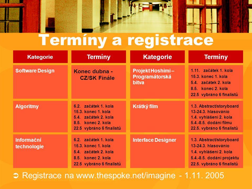 Termíny a registrace  Registrace na www.thespoke.net/imagine - 1.11.