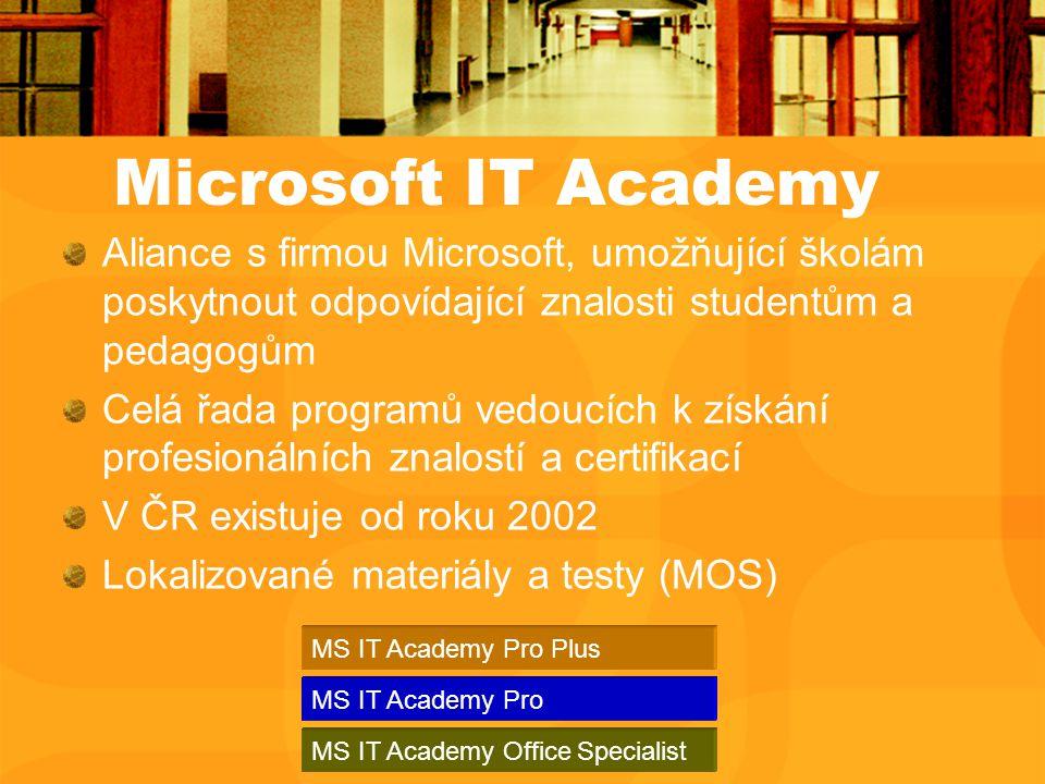 Aliance s firmou Microsoft, umožňující školám poskytnout odpovídající znalosti studentům a pedagogům Celá řada programů vedoucích k získání profesionálních znalostí a certifikací V ČR existuje od roku 2002 Lokalizované materiály a testy (MOS) Microsoft IT Academy MS IT Academy Pro MS IT Academy Pro Plus MS IT Academy Office Specialist