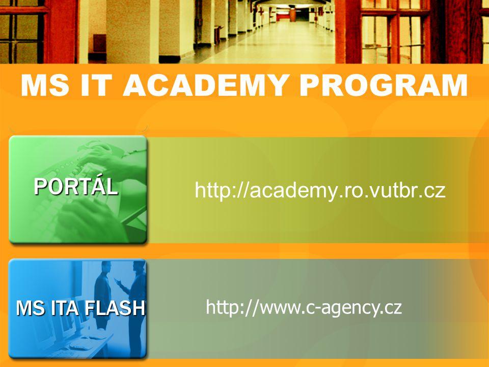 MS ITA FLASH PORTÁL MS IT ACADEMY PROGRAM http://academy.ro.vutbr.cz http://www.c-agency.cz