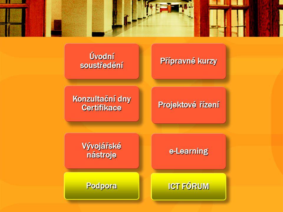 Konzultační dny Certifikace Vývojářské nástroje Podpora Přípravné kurzy e-Learning ICT FÓRUM Projektové řízení Úvodní soustředění